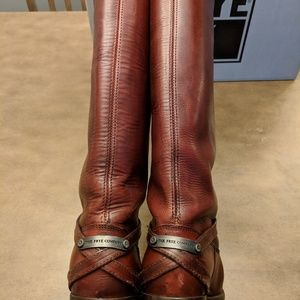 Frye Lindsay Plate Riding Boot Burnt Red